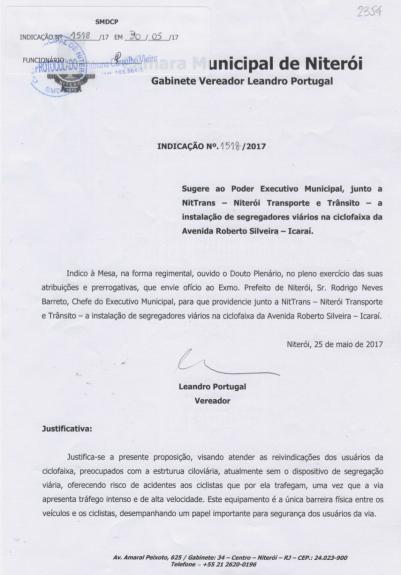 Indicação Legislativa / vereador Leandro Portugal (mai/17)
