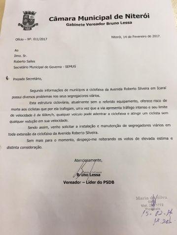 Ofício / vereador Bruno Lessa (fev/2017)