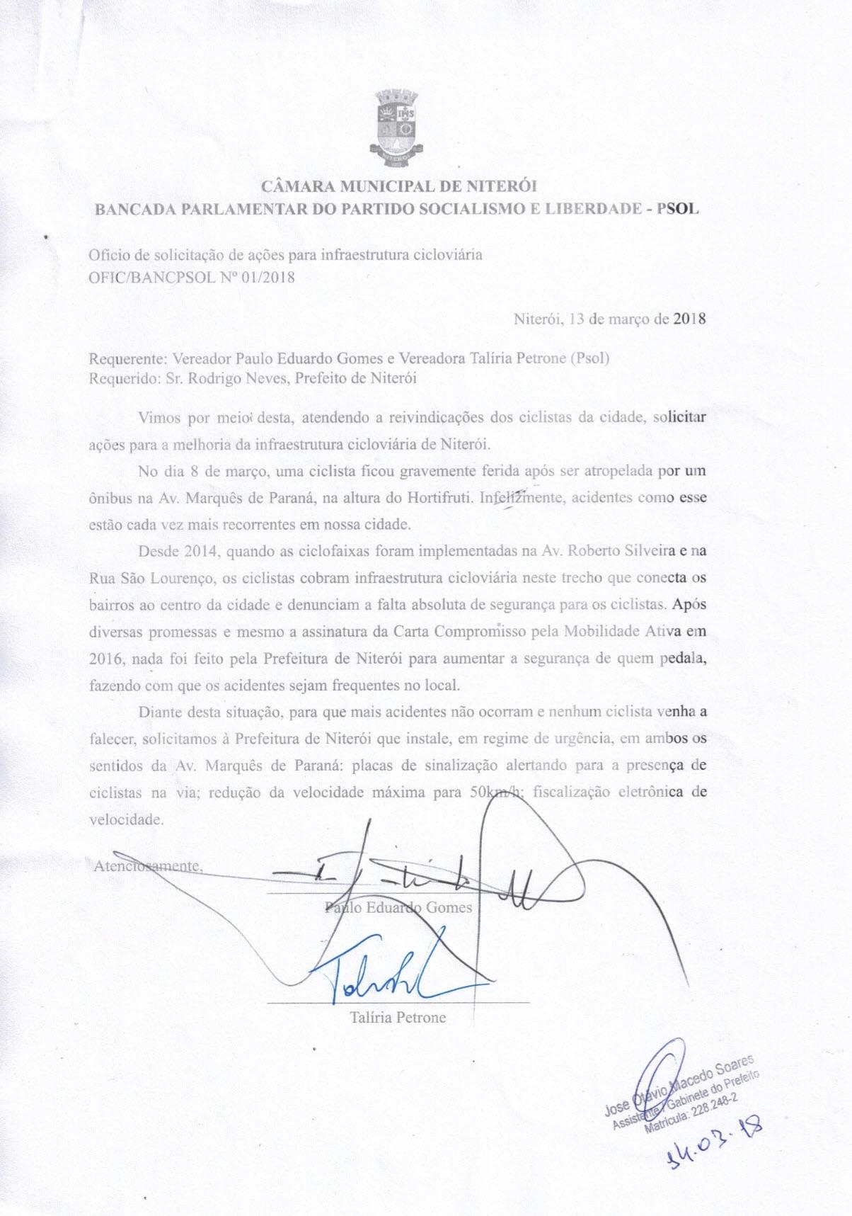 Oficio Bancada PSOL 0001 2018