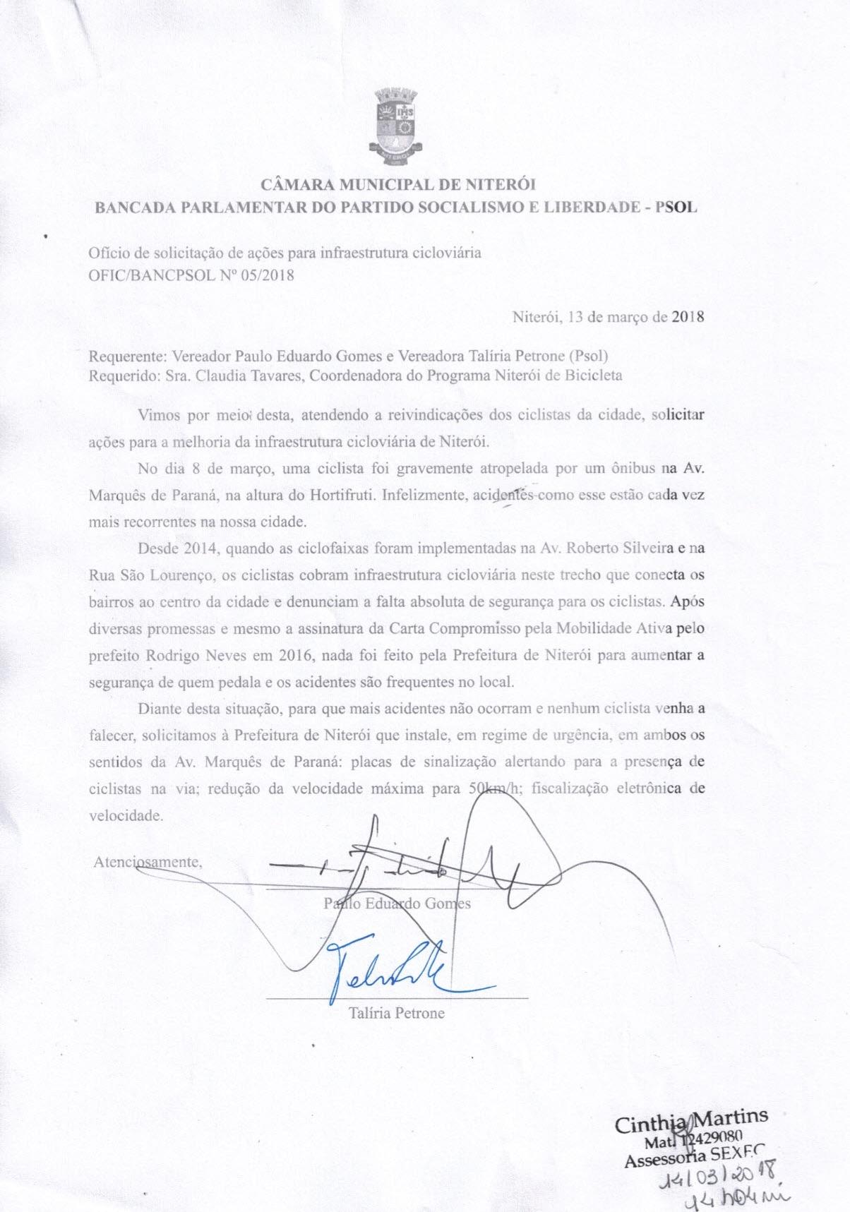 Oficio Bancada PSOL 0005 2018